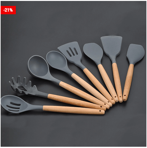 Silicone Wooden Handle Cooking Utensils For Your Kitchen