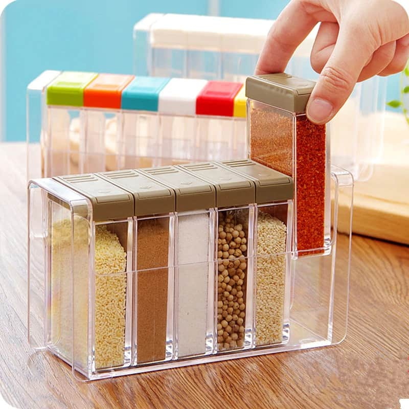 Transparent Plastic 6 Grids Seasoning Container