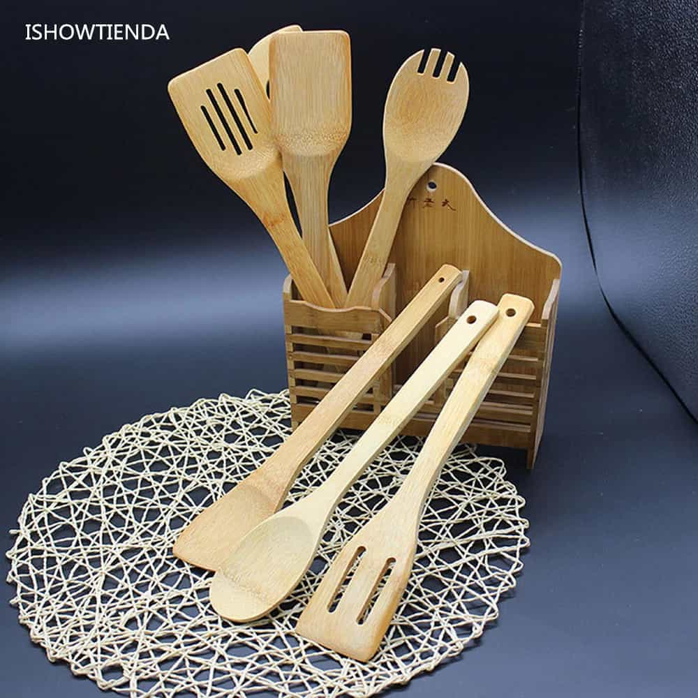 Essential Kitchen Tools: 5 Piece Set Bamboo Utensils