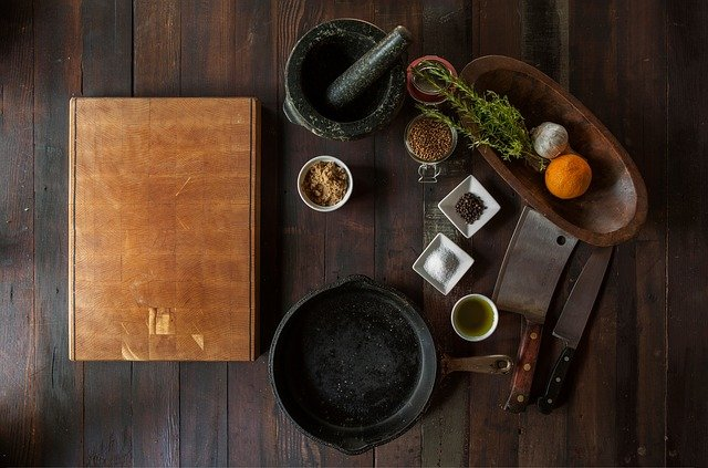 A pot that is sitting on a wooden table